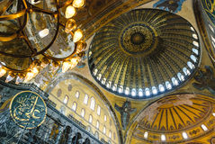 Aya Sofia Mosque interior dome paintings Stock Photos