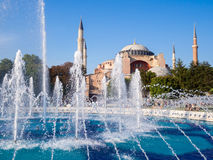 Aya Sofia mosque in Istanbul with a fountain in the foreground. Aya Sofia mosque in Istanbul with a fountain stock image