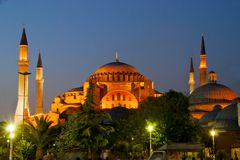 Aya Sofya at Night. Aya Sofya of Istanbul at Night royalty free stock photography
