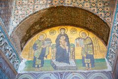 Aya Sophia. Church and mosque in Istanbul, mosaic completed in 13-14th centuries is one the best know samples of mosaic art Royalty Free Stock Photos