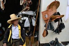 Ayabaca - Peru. Saddles - Market in AYABACA. Department of Piura .PERU royalty free stock photo