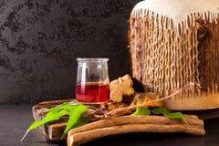 Ayahuasca parzenie z leczniczymi ziele zdjęcia stock