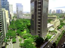 Ayala triangle in ayala, makati city, philippines. Aerial view of ayala triangle along ayala avenue in makati city in philippines, asia stock images