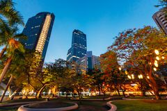 Ayala Triangle Park in the middle of Makati City, Philippines. During twilight royalty free stock image