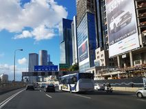 Ayalon  highway ,skyscrapers in Tel Aviv. Royalty Free Stock Photography