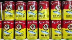 Ayam Brand Sardine en la salsa de tomate vendida en tienda en Johor Bahru, Malasia foto de archivo