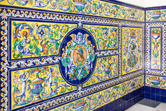 Ayamonte Town Hall wall tiles. Stock Photo