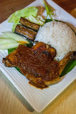 Ayan Penyet. Ayam penyet is Indonesian — more precisely East Javanese cuisine — fried chicken dish consisting of fried chicken that is smashed with the Stock Photos