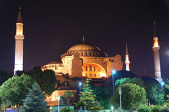 Ayasofya church, Istanbul Turkey. The 1400 hundred year old Ayasofya church glowing at night, Istanbul Turkey royalty free stock images