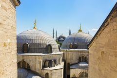 Ayasofya dome and sultanahmet mosque Royalty Free Stock Image