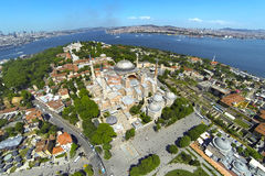 Ayasofya at Old City of Istanbul. Aerial Turkey Views. Hagia Sophia, forth largest building in the world that was made as a church Royalty Free Stock Photography