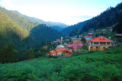 Ayder village, Kackar Turkey. The beautiful village Ayder in the Turkish mountain area on a sunny morning stock photos
