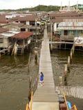 ayer街市bandar汶莱回家典型的kampung 库存图片