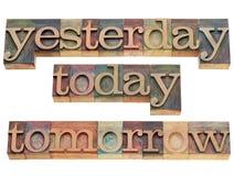 Ayer, hoy, mañana Fotografía de archivo libre de regalías
