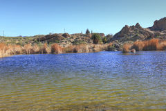 Ayer Lake in Mountain Desert Stock Photo