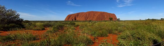 Ayers Rock, Northern Territory, Australia. Panorama of the Ayers Rock, Uluru, Northern Territory, Australia Royalty Free Stock Image