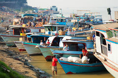 Ayeyarwady River harbour Royalty Free Stock Photo
