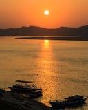 Ayeyarwady river sunset, Myanmar Stock Photography