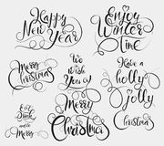 Ayez Holly Jolly Christmas, appréciez l'horaire d'hiver, mangez et buvez et soyez salutation de Joyeux, joyeux Noël et de bonne a illustration libre de droits