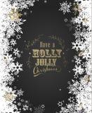 Ayez Holly Jolly Christmas avec un bon nombre de flocons de neige Image stock