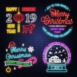 Ayez un enseigne au néon magique de Noël et de bonne année avec des flocons de neige, globe de neige de Noël Vecteur illustration libre de droits