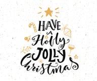 Ayez un texte gai de Noël de houx Conception de carte de Noël illustration libre de droits
