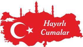 Ayez un turc de Vendredi Saint parlent : Hayirli Cumalar Illustration de vecteur de carte de la Turquie Vecteur du mubarakah de j illustration stock