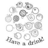 ayez une boisson Placez des boissons délicieuses mignonnes gribouillent des croquis Tasses de griffonnages de th? et de caf? Coll illustration libre de droits