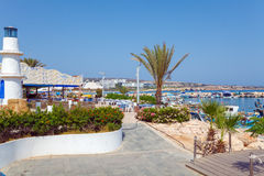 Ayia Napa City Beach and Coast Cafe, Cyprus Stock Photography