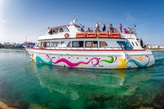 AYIA NAPA, CYPRUS - APRIL 07, 2018: Tourist cruise sightseeing b Stock Photo