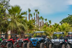 Ayia Napa, Cyprus - 02.06.2018: buggies against the backdrop of the palm trees of the resort city stock photography