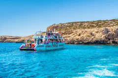 AYIA NAPA, CYPRUS - JULY 16, 2016: Cruise ships packed with tour Royalty Free Stock Photos