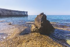 Ayia Napa, Cyprus. Sea caves of Cavo Greco Cape. Sea caves of Cavo Greco Cape. Ayia Napa, Cyprus. Mediterranean sea landscape Royalty Free Stock Photography