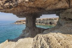 Ayia Napa, Cyprus. Sea caves of Cavo Greco Cape. Sea caves of Cavo Greco Cape. Ayia Napa, Cyprus. Mediterranean sea landscape Royalty Free Stock Image