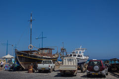 Ayia Napa, Cyprus, vissersboten en jachten Royalty-vrije Stock Afbeeldingen