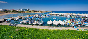 Ayia triada fishing harbour,famagusta,area,cyprus royalty free stock images