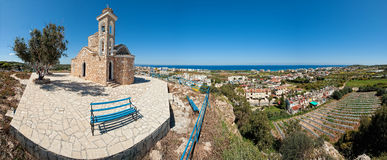 Ayios elias chapel,protaras,cyprus no.2. A wide panoramic view of the ayios elias chapel on top of the hill in the tourist area of protaras in cyprus Stock Photo