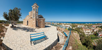 Ayios elias church,protaras,cyprus. A panoramic view of the ayios elias church on top of the hill in the tourist area of protaras in cyprus Stock Image
