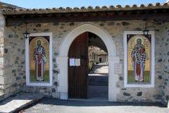 Ayios Heraklidhios entrance. Ayios Heraklidhios: The monastery of Ayios Heraklidhios, near the archaelogical site of Tamassos(about 20 km west of Nicosia), was royalty free stock photos