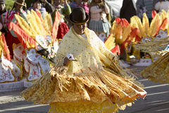 Aymara woman dancing at the Festival of the Virgen del Rosario in Chucuito, Puno, Peru. Stock Photography