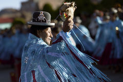 Aymara woman dancing at the Festival of the Virgen del Rosario in Chucuito, Puno, Peru. Royalty Free Stock Image