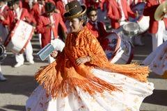 Aymara women dancing at the Festival of the Virgen del Rosario in Chucuito, Puno, Peru. Royalty Free Stock Photos