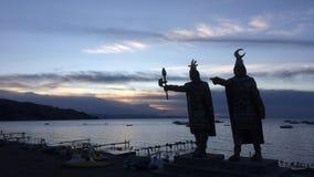Aymaran αγάλματα στο titicaca λιμνών, Βολιβία Στοκ Φωτογραφίες