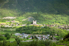 The Aymavilles castle and mountain village in Italy Royalty Free Stock Photos