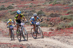 Ayoze Grimon N106, Miguel Angel N 171, Guilelermo Rivero N180 in action at Adventure mountain bike marathon  Royalty Free Stock Image