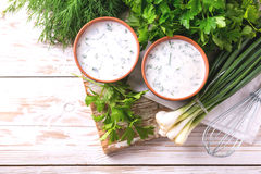Ayran with fresh herbs. Traditional Turkish yoghurt drink. Stock Image