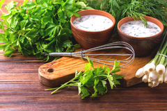 Ayran with fresh herbs. Traditional Turkish yoghurt drink. Royalty Free Stock Image
