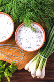 Ayran with fresh herbs. Traditional Turkish yoghurt drink. Stock Photography