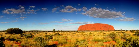 Ayres Rock Uluru Panorama. In Australia with clouds