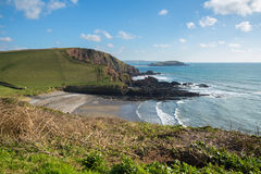 Ayrmer Cove Devon. Ayrmer Cove in South Devon with Burgh Island in the distance Stock Photography